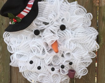 Snowman DecoMesh Wreath