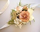 Blush Wrist Corsage, Prom Corsage, Boho Wedding, Rustic Wrist Corsage, Wrist Corsage, Dried Flower Corsage, Wedding Corsage, DUSTY ROSE
