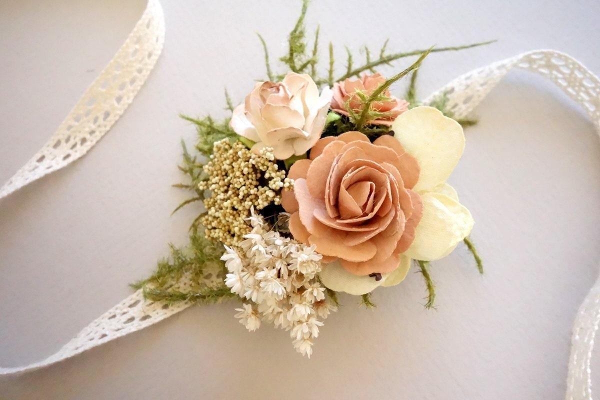 Blush Wrist Corsage Prom Corsage Boho Wedding Rustic Wrist