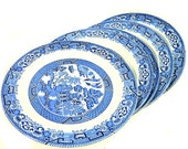 Five Wood & Sons Wood Ware Blue Willow Salad Dessert Plates England