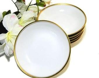 Six Antique M Redon PL Limoges Fruit Bowls White and Gold