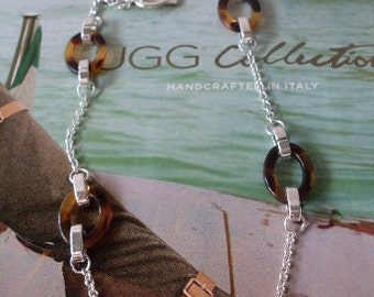 Necklace Equestrian Style Vintage Tortoise & Silver  Beaconhillcollect  We Ship Internationally