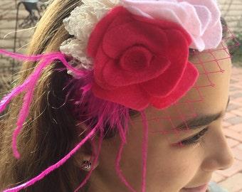 Shabby chic headband, feathers, birdcage veil