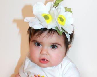 White magnolia, felt flowers headband