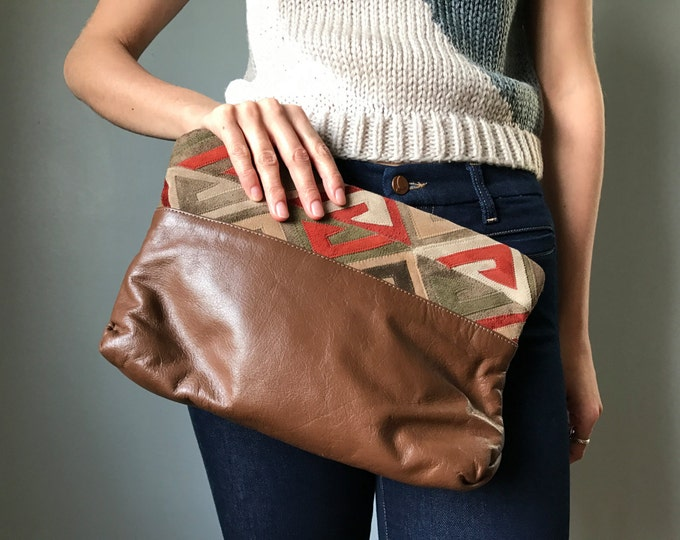 Vintage Leather + Suede Clutch