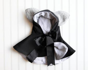 """Wool Wolf Doll Cape or Capelet, Short Version, Fits 16-20"""" Waldorf Dolls, All Natural"""
