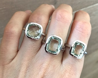 Green Amethyst Statement Ring-  Solitaire Square Amethyst Ring- Green Gemstone Rectangle Shape Ring-February Birthstone Sterling Silver Ring