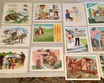 Vintage 1960's School Classroom Material [14 Pieces] School Supplies Bulletin Board Pictures for Community Jobs