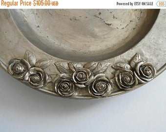 ON SALE Vintage Pewter Plate with Roses SKS Zinn 95% Germany