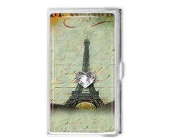 Paris Eiffel Tower Business Card Holder - Custom Card Case - Logo Business Card Case - Gift Idea - Office Supplies - Credit Card Holder -