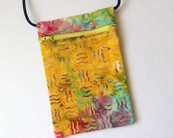 Pouch Zip Bag BATIK Fabric - Yellow pink green bag. Small fabric Purse. Great for walkers, markets, travel. Phone Pouch. hippie sling 7x4.5""