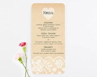 Rustic lace wedding menu