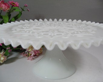 Milk Glass Cake Stand, Fenton Spanish Lace Cake Plate, Wedding Milk Glass Dessert Stand