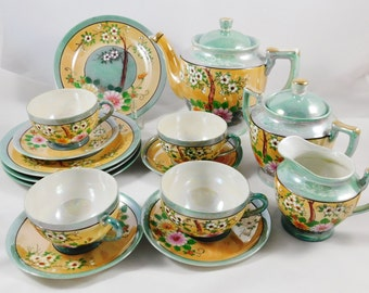 Lusterware 17 Pc Tea Set, Made in Japan, Cherry Blossom, Soft Green Luster, 1950, Mid-Century, Chinoiserie