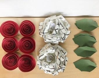 Christmas paper flowers, christmas diy, cheistmas holiday decor