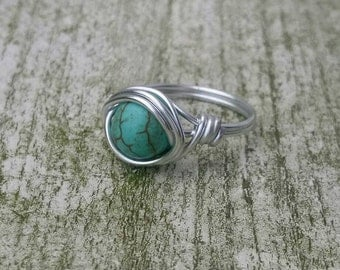 Gemstone ring turquoise, Boho ring, Hippiestyle, Wire ring
