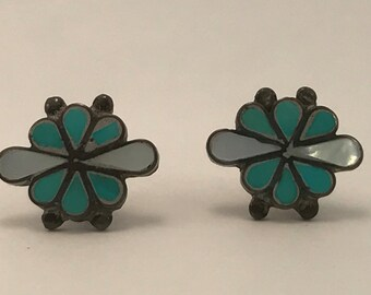 SALE Vtg New Old Stock Turquoise and Mop Inlaid Earrings