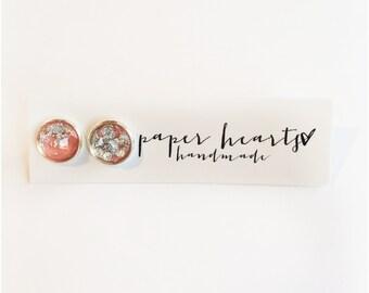 silver foil stone studs//peach