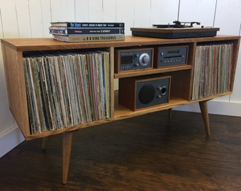 New mid century modern record player console, turntable stand, stereo cabinet featuring quartersawn white oak.