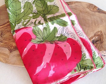 Adorable Vintage Vera Neumann Strawberry Scarf Mid Century