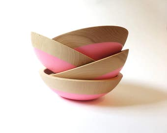 "Set of 4 Individual Serving Salad or Snack Bowl, Beech Wood, 7"" hardwood bowl, Pink color dipped, blue wooden bowl by Willful"