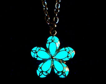 Pink Flower Necklace Glow In The Dark Jewelry Floral Charm Flowergirl Necklace Antique Bronze (glows aqua blue)