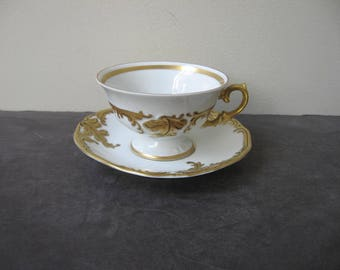 Vtg WALBRZYCH Heavy GOLD GILT on White Footed Teacup and Saucer Set Made in Poland