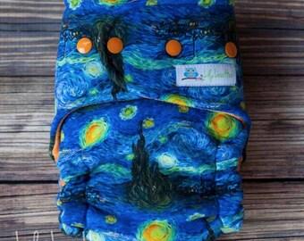 Custom Starry Night Cloth Diaper