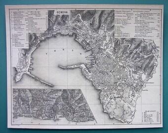 "1874 MAP City Plan 8.5 x 11"" - ITALY Genova Genoa 22 x 28 cm"