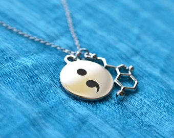 Biolojewerly -  Stainless Steel Chain  - Serotonin Neurotransmitter Molecule Semicolon Necklace
