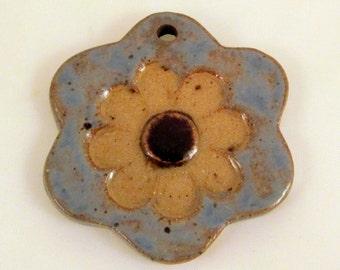 Large Glazed Pottery Pet Cremains Motif Pendant or Ornament - Custom Memorial Pet Cremation Keepsake -  PRIMITIVE DAISY
