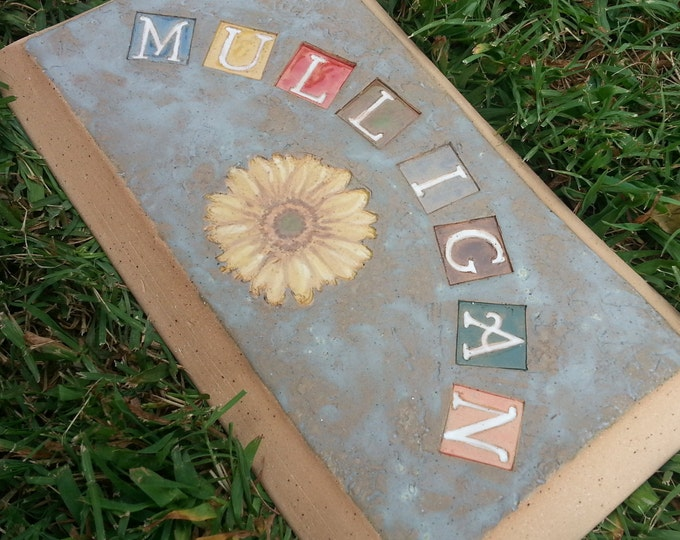 Featured listing image: Custom - Pottery Pottery Garden Stone or Burial Grave Marker - Stoneware Clay - For Pet Memorial -  Beveled Rectangle Plaque