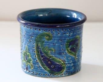 Vintage Bitossi Blue Green Rimini Blu Italy Vase Pottery Ceramic Mid Century