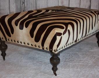 Brown Zebra Print Cowhide Ottoman