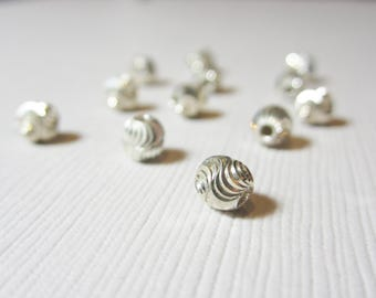 5mm Sterling Silver Round S-Cut Bead (6 Pieces)