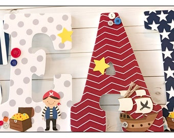 Pirate Nursery. Anchors. Baby Boy Nursery. Nursery decor. Stars. Pirate Treasure. Pirate Theme. Wood Letters. Baby Letters. Wall Letters.