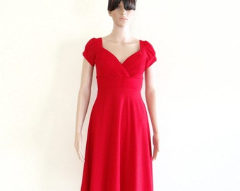 Red Bridesmaid  Dress.Dress With Sleeves.Red Evening Dress