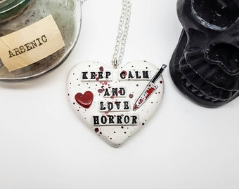 Horror necklace, Horror movie jewelry, blood spatter necklace, Dexter, blood spatter, bloody knife, Horror Heart Necklace, bloody heart