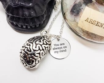 Brain necklace, anatomical brain, zombie brain, Medical Necklace, Halloween