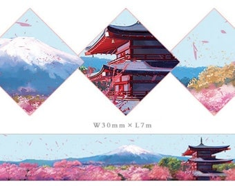 1 Roll of Limited Edition Washi Tape - Sakura Blossom with Mount Fuji