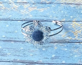 Denim Flower Bangle Bracelet