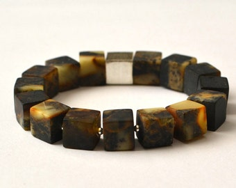 Coffee Golden Brown Matte Amber Bracelet, Natural Organic Tribal, Cube Amber Minimalist Bracelet