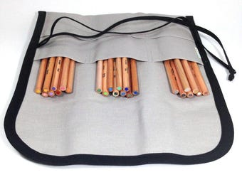 Roll Up Pencil Case / Pen Roll / Canvas Pencil Pouch / Artist Roll / Gray with Black