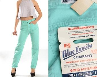 Vintage Mint Blue Pastel Coral Denim Pants Trousers Jeans Cigarette Pants 90s Deadstock High Waist Womens Size Small size 6 8