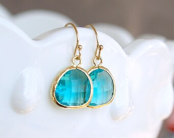 December Birthstone Earrings - Blue Zircon Drop Earrings in Gold - Aqua Teal Gold FIlled Earwire - Blue Stone Earring - Gift Bridesmaid
