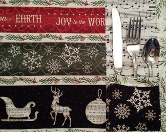 """Perfect Christmas Pacemat - Silverware Holder - Nice Size - Approx. 12"""" X 16"""" - More Fabric Options - Any Day - Easter - Patriotic - Country"""
