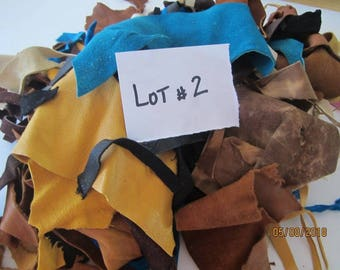 LEATHER SCRAPS LOT Two 18 Ounces Suede and Buckskin Leather Pieces