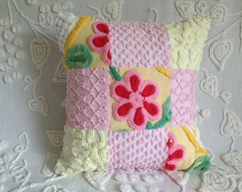 Pillow Cover Vintage Chenille Pink and Yellow Patchwork..16 x 16""