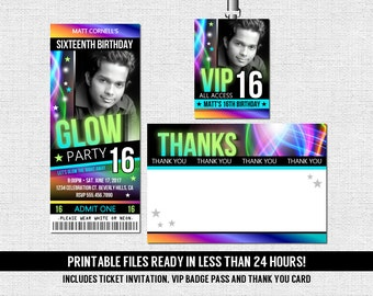 Glow Party Invitations Ticket Style Neon Birthday + Thank You Card and VIP Pass - (print your own) Printable Files - Glow in the Dark Dance