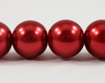 """Red Crystal Pearl Beads 8mm Round Glass Pearl Beads, Cranberry Red Pearl Beads, Imitation Pearl Beads on a 7 1/2"""" Strand with 25 Beads"""